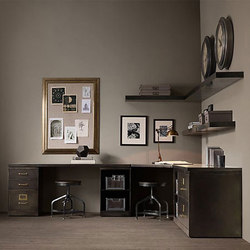 1940s Industrial Modular Office Double Corner Desk System | Scrivanie | RH Contract