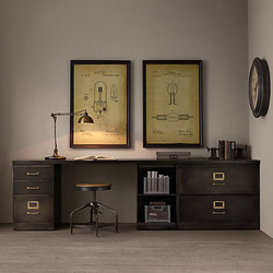 1940s Industrial Modular Office Triple Storage Desk System | Scrivanie | RH Contract