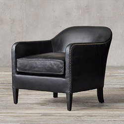 1950s French Tuxedo Leather Club Chair | Poltrone lounge | RH Contract
