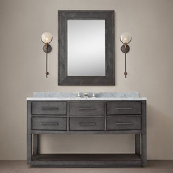 La Salle Metal-Wrapped Single Extra-Wide Washstand | Mobili lavabo | RH Contract