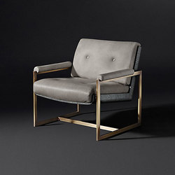 Rollins Leather Chair Brass | Sillones lounge | RH Contract