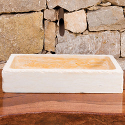 Antiqued Milano Vessel Sink, Jerusalem Gold Limestone | Outdoor kitchens | Stone Forest