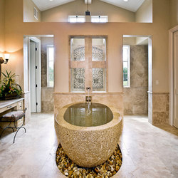 Oval Bathtub, Beige Granite | Bathtubs | Stone Forest