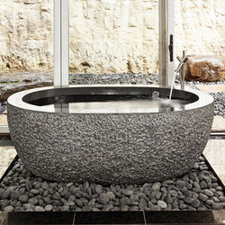 Oval Bathub, Black Granite | Free-standing baths | Stone Forest