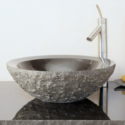 Beveled Round Sink, Chiseled, Black Granite | Wash basins | Stone Forest