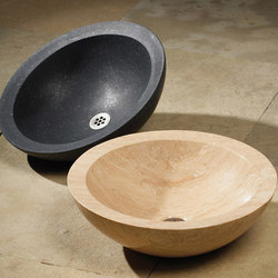 Beveled Round Sink, Honed Basalt & Travertino Romano | Wash basins | Stone Forest