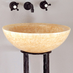 Beveled Round Sink, Honey Onyx | Wash basins | Stone Forest