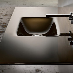 Countersink with Rectangular Basin in Bronze White Lami | Wash basins | Vitraform