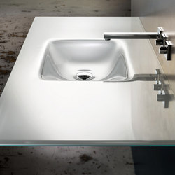 Countersink with Rectangular Basin in Starphire White Lami | Wash basins | Vitraform