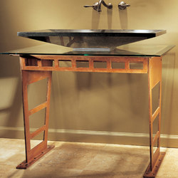 Double I-Beam Vanity with Glass Counter | Wash basins | Stone Forest