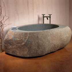 Natural Bathtub, Green-Gray Granite | Freistehend | Stone Forest