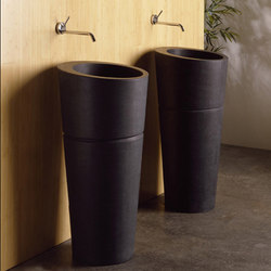 Veneto Pedestal Sink, Honed Black Granite | Lavabos | Stone Forest