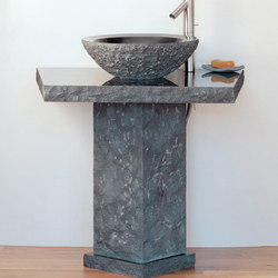 Vessel Pedestal and Countertop with Beveled Round Vessel, Black Granite | Lavabos | Stone Forest