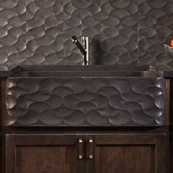 Wave Front Farmhouse Sink, honed basalt | Kitchen sinks | Stone Forest