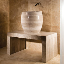 Siena Tamburo Vessel Sink and Banco Shower Bench | Wash basins | Stone Forest