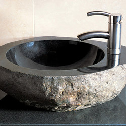 Natural Vessel Sink with Faucet Mount, Black Granite | Lavabos | Stone Forest