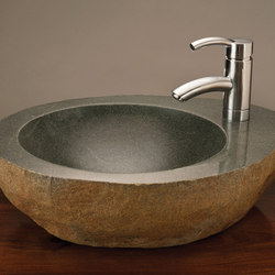 Natural Vessel Sink with Faucet Mount, Grey Granite | Wash basins | Stone Forest
