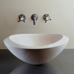 Roma Vessel Sink, Papiro Cream Marble | Wash basins | Stone Forest