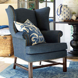 Pottery Barn: Thatcher Upholstered Wingback Chair in Denim | Fauteuils d'attente | Williams-Sonoma, Inc. TO THE TRADE