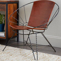 Sculpted Metal and Leather Bowl Chair | Lounge chairs | Distributed by Williams-Sonoma, Inc. TO THE TRADE