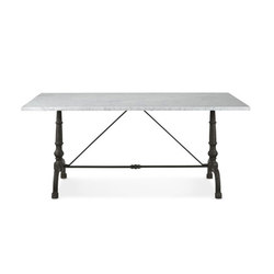 La Coupole Rectangular Iron Bistro Table with Marble Top | Dining tables | Distributed by Williams-Sonoma, Inc. TO THE TRADE