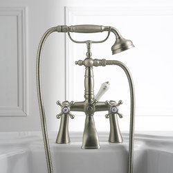 Canterbury - Deck-mounted bathtub mixer with hand shower set | Bath taps | Graff