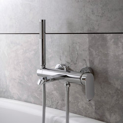 Phase - Wall-mounted bath & shower mixer with hand shower set | Shower controls | Graff