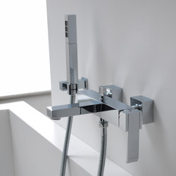 Qubic - Wall-mounted bath & shower mixer with hand shower set | Bath taps | Graff