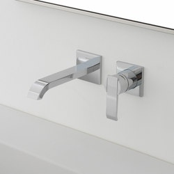 Qubic - Wall-mounted basin mixer with 19cm spout - exposed parts | Wash-basin taps | Graff