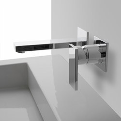 Solar - Wall-mounted basin mixer with 19cm spout - exposed parts