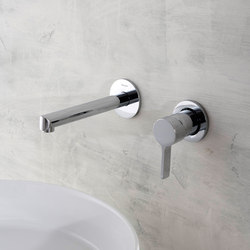 Terra - Wall-mounted basin mixer with 19cm spout - exposed parts
