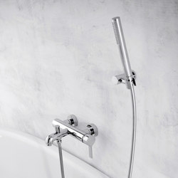 Terra - Wall-mounted bath & shower mixer with hand shower set