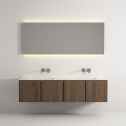 Move hanging cabinet 4 doors integrated double washbasin | Meubles sous-lavabo | Idi Studio