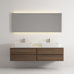 Move hanging cabinet 4 drawers double washbasin | Mineral composite panels | Idi Studio