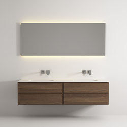 Move hanging cabinet 4 drawers integrated double washbasin | Meubles sous-lavabo | Idi Studio