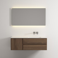 Move hanging cabinet 2 drawers 1 left door single integrated washbasin | Meubles sous-lavabo | Idi Studio