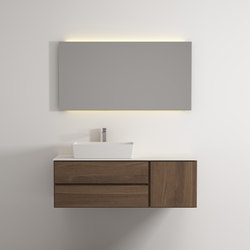 Move hanging cabinet 2 drawers 1 right door single washbasin | Mineral composite panels | Idi Studio