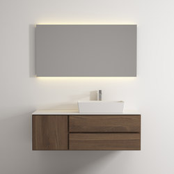 Move hanging cabinet 2 drawers 1 left door single washbasin | Mineral composite panels | Idi Studio