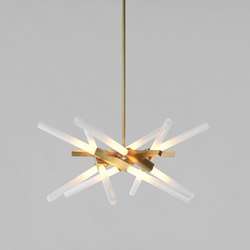Astral Agnes 01 - 12 Lights (Brushed brass/Straight-cut glass) | Suspensions | Roll & Hill