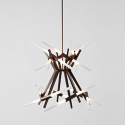 Astral Agnes 02 - 24 Lights (Bronze/Straight-cut glass) | Suspended lights | Roll & Hill