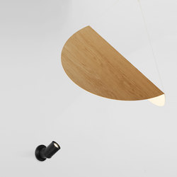 Bounce wall mount lamp black + large shade white oak | Pendelleuchten | Roll & Hill