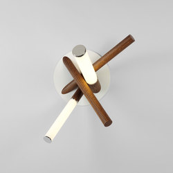 Mini Farrago sconce polished nickel / stained oak | Allgemeinbeleuchtung | Roll & Hill