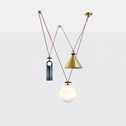 Shape Up 3 piece chandelier brushed brass | Suspended lights | Roll & Hill