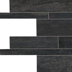 Stone Project Controfalda Mosaico Listelli Sfalsati Black | Ceramic mosaics | EMILGROUP
