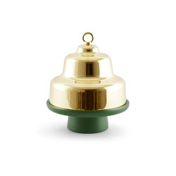 Belle - Tall green stand & brass cloche dome | Schalen | Incipit Lab srl