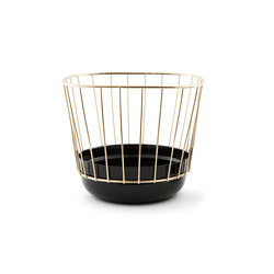 Canasta - Tall black bowl & brass cage | Bowls | Incipit Lab srl