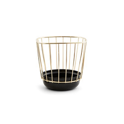 Canasta - Small black bowl & brass cage | Schalen | Incipit Lab srl