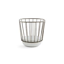 Canasta - Small white bowl & black nickel cage | Bowls | Incipit Lab srl
