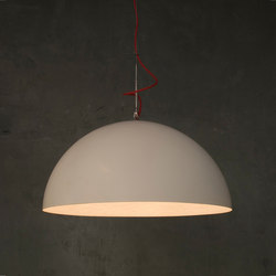 Mezza Luna blanc/blanc fil rouge | Suspensions | IN-ES.ARTDESIGN
