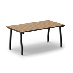 Mornington Table B with Natural Slatted Solid Teak Top | Kantinentische | VUUE